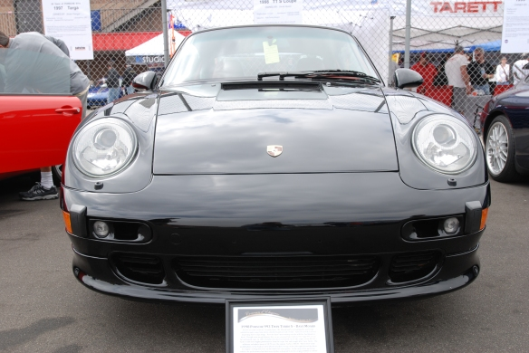 50th anniversary  of the Porsche 911 display_Black 1998  Turbo S coupe / front view _California Festival of Speed_April 6, 2013