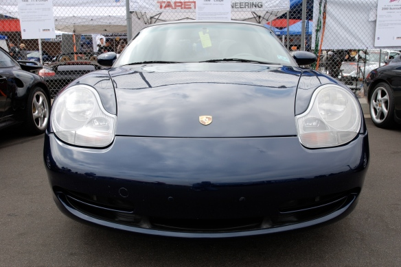 50th anniversary  of the Porsche 911 display_Dark Blue 1999  coupe / front view _California Festival of Speed_April 6, 2013