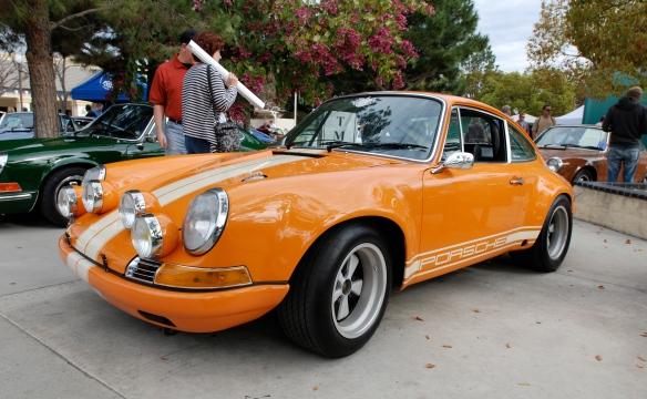 Signal orange and white striped 1972 Porsche 911ST tribute_3/4 front view_Phoenix Club show_3/3/13