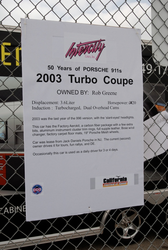 50th anniversary  of the Porsche 911 display_ Black 2003 Turbo biography_California Festival of Speed_April 6, 2013