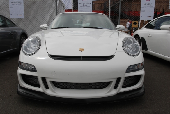 50th anniversary  of the Porsche 911 display_ White 2007 911 GT3 / front view_California Festival of Speed_April 6, 2013