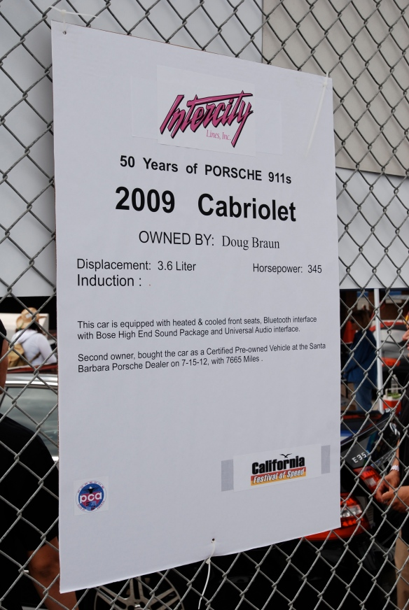 50th anniversary  of the Porsche 911 display_ 2009 911 Cabriolet biography_California Festival of Speed_April 6, 2013