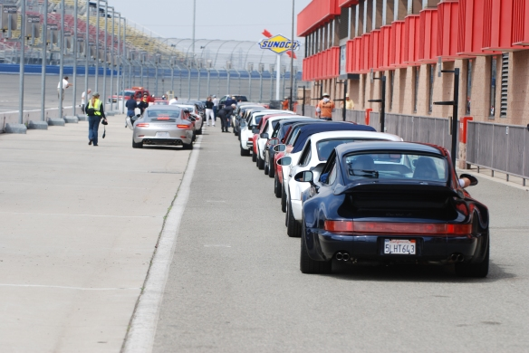 50th anniversary  of the Porsche 911 display_lined up on pit row_California Festival of Speed_April 6, 2013