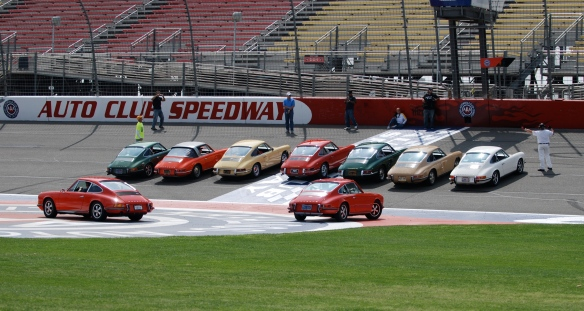 50th anniversary  of the Porsche 911 display_early 911s @start/finish line_California Festival of Speed_April 6, 2013