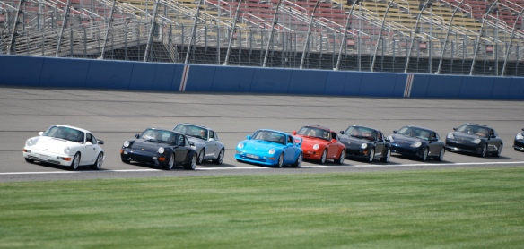 50th anniversary  of the Porsche 911 display_964s, 993s, 996s heading to group photo_California Festival of Speed_April 6, 2013
