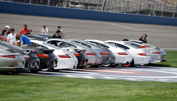 50th anniversary  of the Porsche 911 display_ back row, 2013 911 Carrera S and friends, 3/4 rear views_California Festival of Speed_April 6, 2013