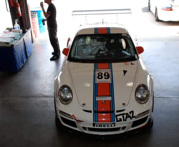 White with Martini Racing stripes GT3 Cup car#89_ front view_Garage 3_California Festival of Speed_April 6, 2013