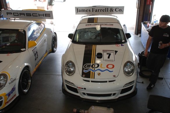 White with black and yellow striped, James Farrell & Co GT3 Cup car#7_ front view_Garage 3_California Festival of Speed_April 6, 2013