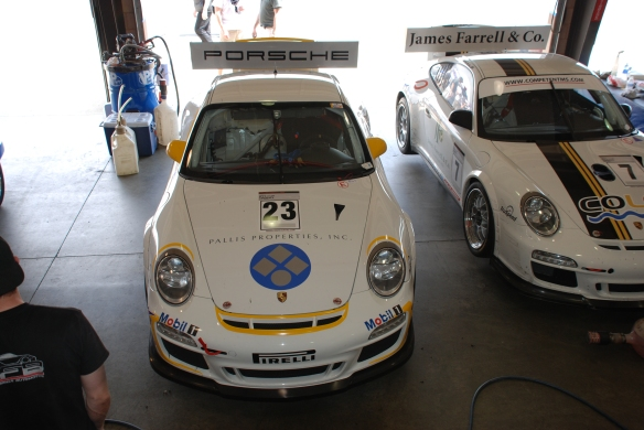 White and yellow Pallis Properties Inc. GT3 Cup car#23_ front view_Garage 3_California Festival of Speed_April 6, 2013