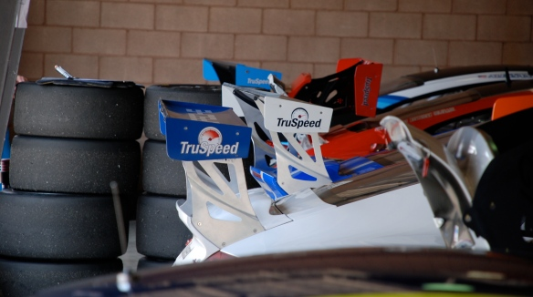 TruSpeed Porsche GT3 cup car rear wings_garage 2_California Festival of Speed_April 6, 2013