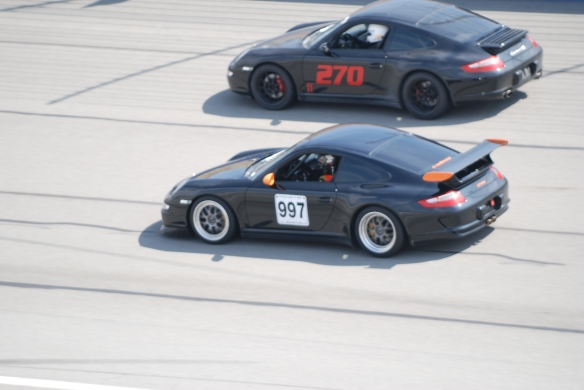 Black Porsche 997 & GT3 RS _ #270, #997_pan shot _California Festival of Speed_April 6, 2013