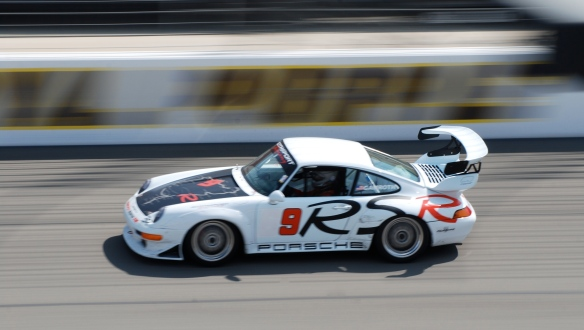 White Porsche 993 race car #9 w/RSR side graphic_pan shot _California Festival of Speed_April 6, 2013