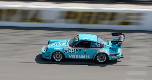 Easter egg blue Vaillant Porsche 964 race car # 352_pan shot _California Festival of Speed_April 6, 2013