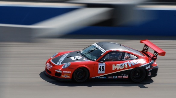 Red & Black Mothers Polishes Porsche GT3 Cup car#45_pan shot _California Festival of Speed_April 6, 2013