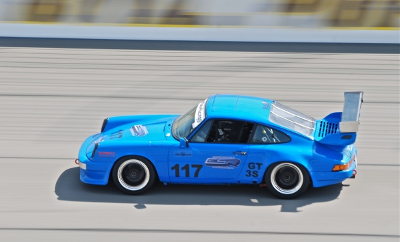 Riviera Blue Porsche 911 Carrera race car#117_pan shot _California Festival of Speed_April 6, 2013