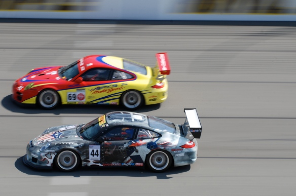 Porsche GT3 Cup cars # 69,#44_lapping in formation_pan shot _California Festival of Speed_April 6, 2013