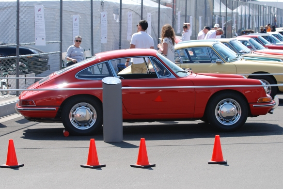 50th anniversary  of the Porsche 911 display_Red 1964 901 and early 911s / side view _California Festival of Speed_April 6, 2013