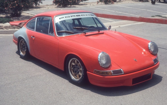 Orange 1967 Porsche 911 racer_3/4 front view_Ontario Motor speedway_ May 1974