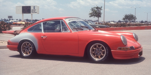 Orange 1967 Porsche 911 racer_side view_Ontario Motor speedway_ May 1974