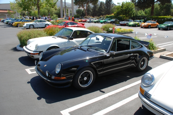 Black 1970s Porsche 911 GT_3/4 front view with reflections_RGruppe Solvang Treffen_May 18, 2013