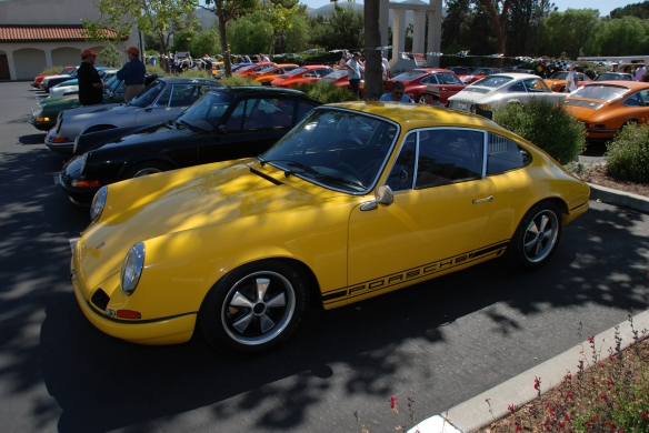 Fly Yellow 1967 Porsche 911R recreation_ 3/4 front view_RGruppe Solvang Treffen_May 18, 2013