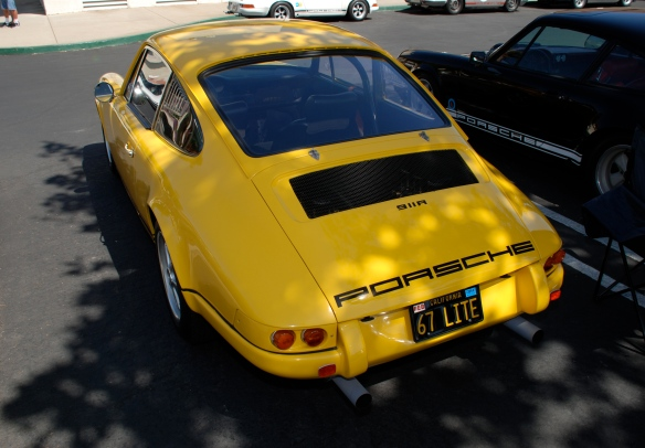 Fly Yellow 1967 Porsche 911R recreation_3/4 rear view_RGruppe Solvang Treffen_May 18, 2013