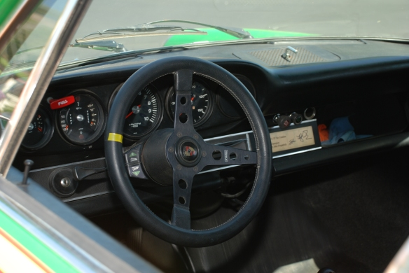 Viper Green 1972 Porsche 911ST Kremer recreation_ Interior view,Prototipo steering wheel_RGruppe Solvang Treffen_May 18, 2013