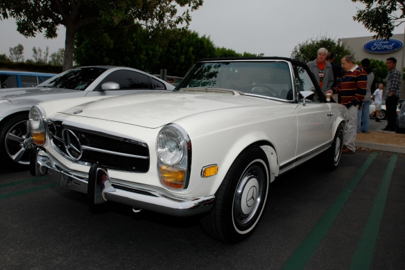 White 1969 Mercedes-Benz 280 SL_3/4 front view_Cars&Coffee/Irvine_May 11, 2013