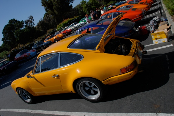 Signal Yellow 1972 Porsche 911ST recreation_  3/4 rear view _RGruppe Solvang Treffen_May 18, 2013