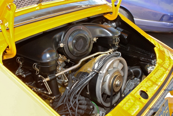 Signal Yellow 1972 Porsche 911ST recreation_  engine detail _RGruppe Solvang Treffen_May 18, 2013