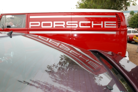 Red VW panel van with Porsche graphic_side view and reflections_Cars&Coffee/Irvine_May 11, 2013