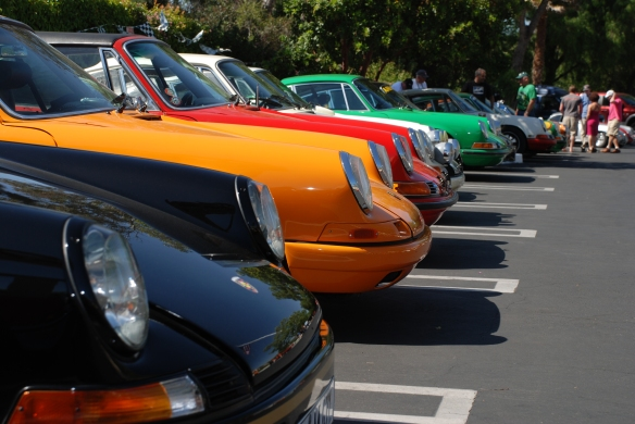 Porsche row 911 line up_  long side view, front ends _RGruppe Solvang Treffen_May 18, 2013