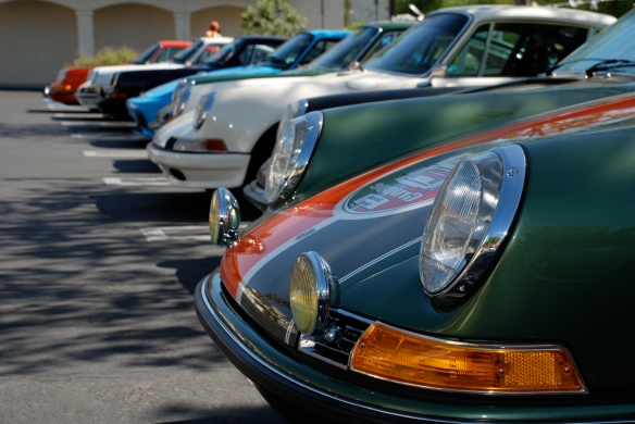 Green metallic with 2 toned stripes, 911 Targa _group shot in a row_RGruppe Solvang Treffen_May 18, 2013
