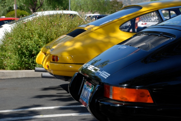 Fly Yellow 1967 Porsche 911R recreation & black 911ST_3/4 rear views_RGruppe Solvang Treffen_May 18, 2013