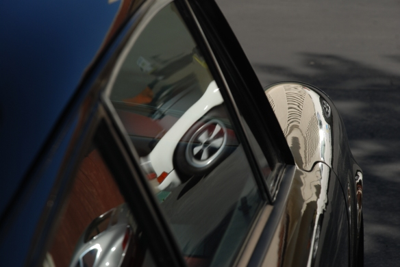 Black Porsche 911ST_side window & fender reflections_RGruppe Solvang Treffen_May 18, 2013