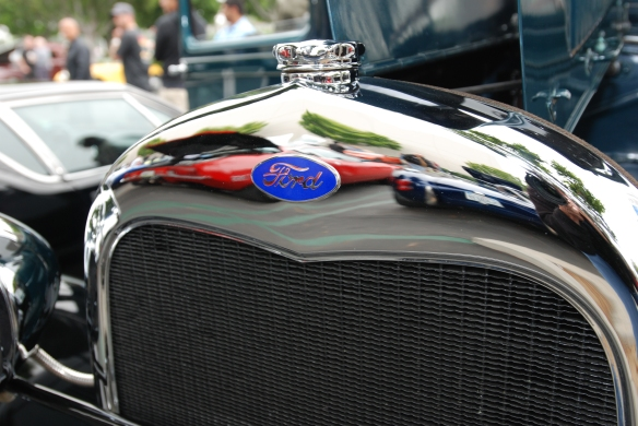 1930's vintage Ford Tudor__chrome grill  reflections_Cars&Coffee/Irvine_May 11, 2013