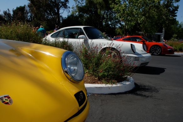 Fly Yellow 911R, white RS America, Red 991_3/4 view front ends , group shot_RGruppe Solvang Treffen_May 18, 2013