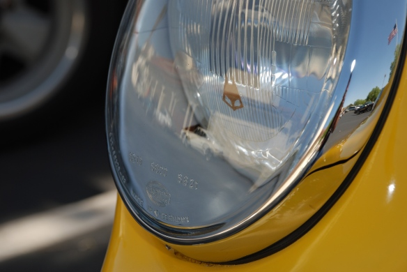 Fly Yellow 1967 Porsche 911R recreation_ headlight lens reflections_RGruppe Solvang Treffen_May 18, 2013