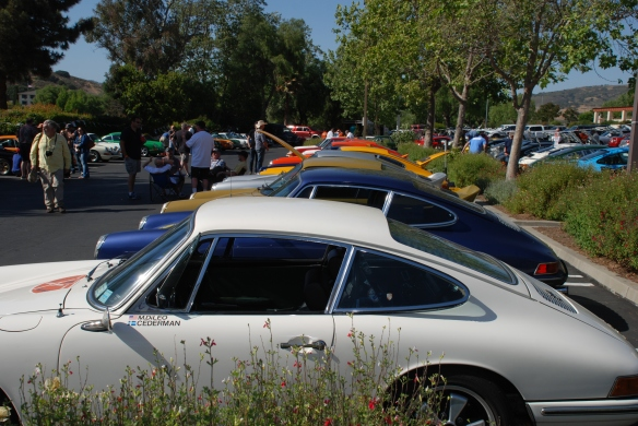 Porsche row group shot, white longhood in foreground_ side view_RGruppe Solvang Treffen_May 18, 2013