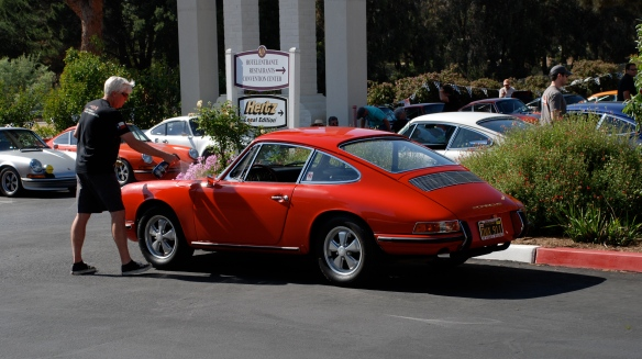 Dave detailing his Signal Red 1966 Porsche 911_3/4 side view_RGruppe Solvang Treffen_May 18, 2013