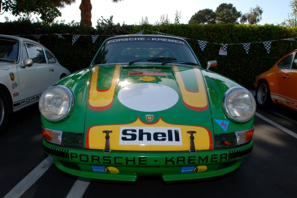 Viper Green 1972 Porsche 911ST Kremer recreation_ front view with reflections_RGruppe Solvang Treffen_May 18, 2013