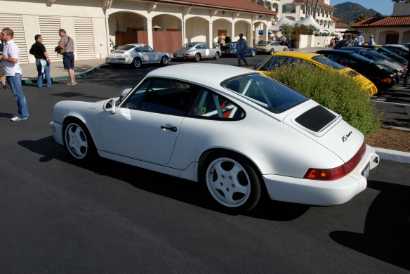 White Porsche 964 RS America_3/4 rear side view_RGruppe Solvang Treffen_May 18, 2013