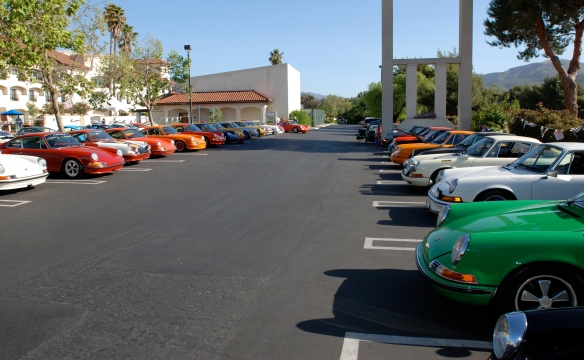 Group shot, 2 rows, side view_viper green 911 in foreground _RGruppe Solvang Treffen_May 18, 2013