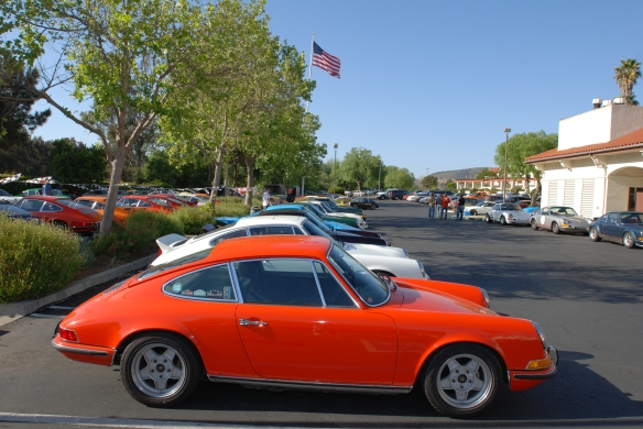 group shot, side view_orange 911 in foreground with flag_RGruppe Solvang Treffen_May 18, 2013