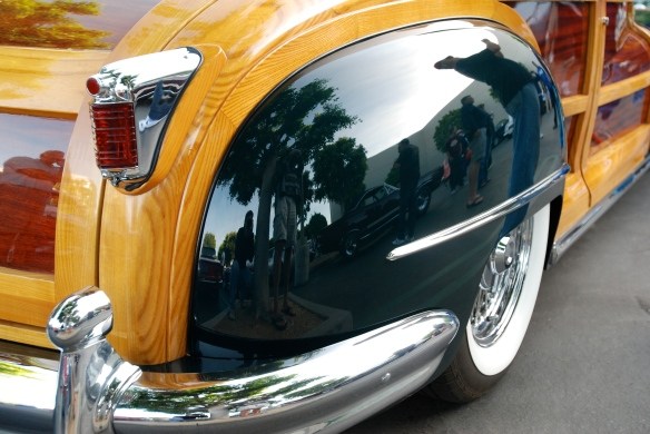 "Green vintage Chrysler Town & Country ""woody"" convertible_rear fender reflections facing forward_Cars&Coffee/Irvine_April 20, 2013"