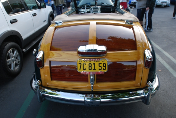 "Green vintage Chrysler Town & Country ""woody"" convertible_wood trimmed rear trunk_Cars&Coffee/Irvine_April 20, 2013"