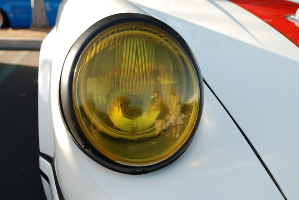 White 1967 Porsche 911R tribute_amber headlight lens & reflections, fender and hood detail_Cars&Coffee/Irvine_ May 11, 2013