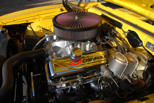 Yellow 1970's vintage Chevrolet Camaro_engine compartment detail_Cars&Coffee/Irvine_April 20, 2013