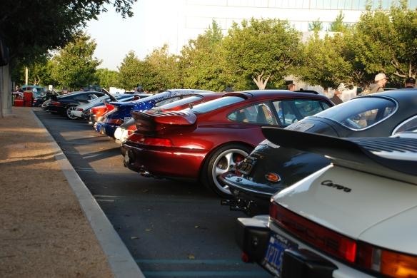 Porsche row color _3/4 rear view shot down entire row_Cars&Coffee/Irvine_April 27, 2013