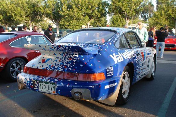 Porsche row  _Jeff Zwart's  Valvoline Porsche 964 turbo rally car_ 3/4 rear view_Cars&Coffee/Irvine_April 27, 2013